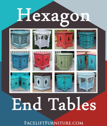 Hexagon end tables painted, glazed and distressed from Facelift Furniture. Browse our collection for lots of DIY inspiration!