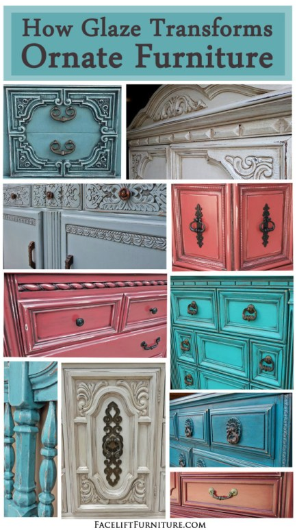 How Glaze Transforms Ornate Furniture ~ From Facelift Furniture's DIY Blog