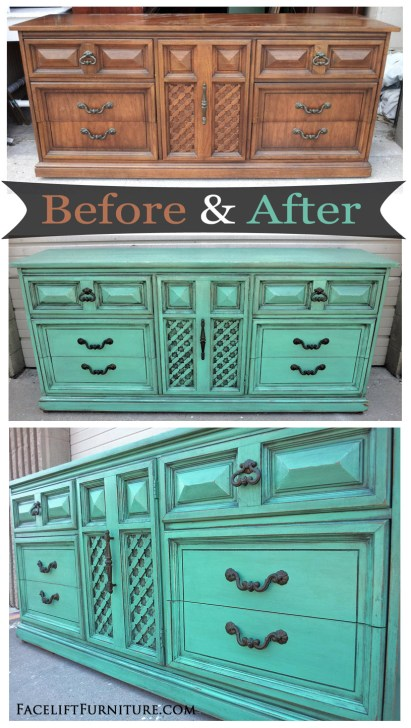 Jade Vintage Dixie Dresser with Black Glaze - Before & After from Facelift Furniture