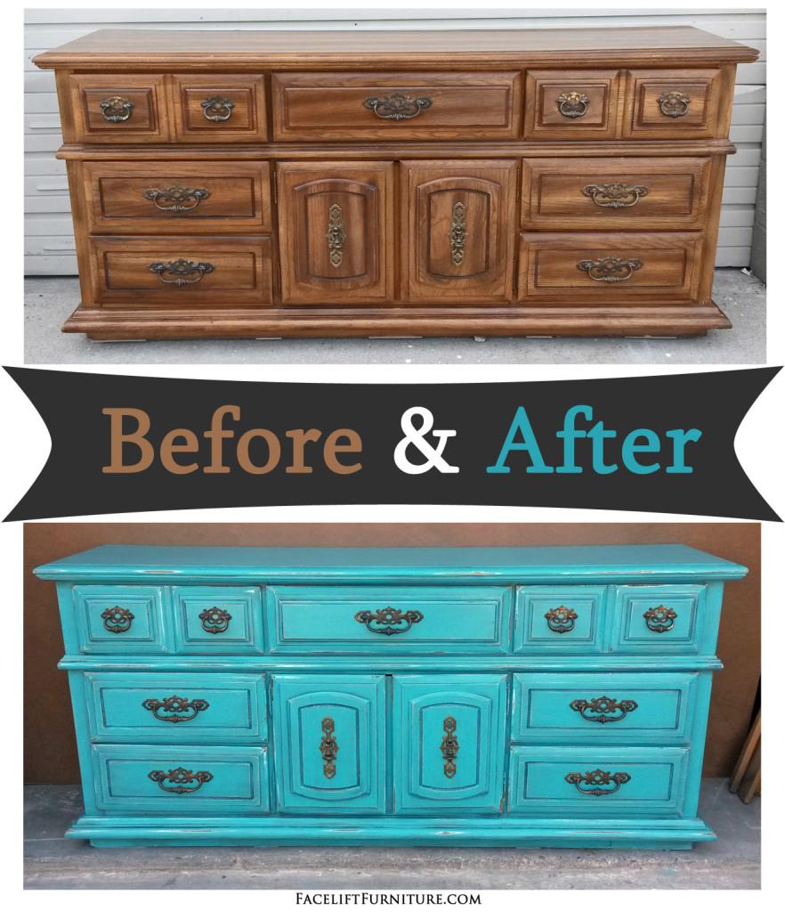 Dresser In Distressed Turquoise U0026 Black Glaze   Before U0026 After