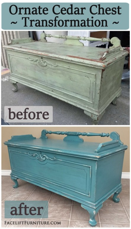 Ornate cedar chest in distressed Sea Blue with black glaze - Before and After from Facelift Furniture