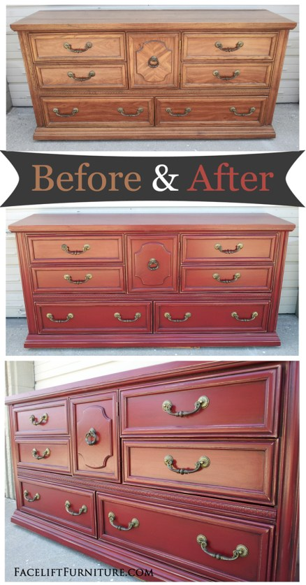 Distressed Barn Red Dresser – Before & After – Facelift ...