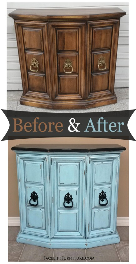 Entry piece in distressed in Black and Robin's Egg Blue with Black Glaze. Original pulls painted black. Before and after from Facelift Furniture.