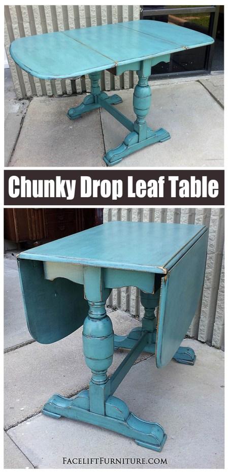 Sea Blue Drop Leaf Table ~ Facelift Furniture
