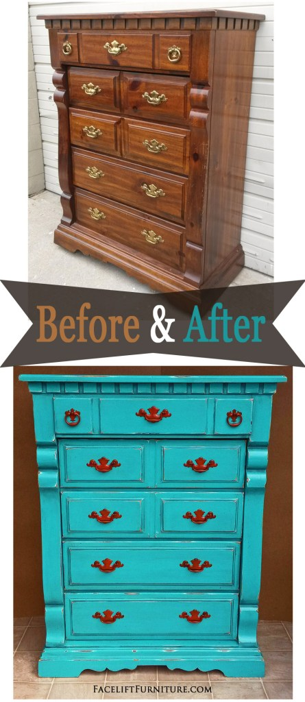 Chest of drawers in distressed Turquoise, Black Glaze, and Paprika pulls - Before and After. From Facelift Furniture's DIY Blog.