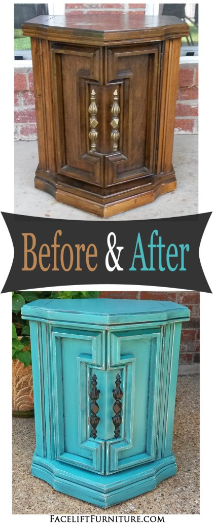 Chunky hexagon end table in distressed Turquoise with Black Glaze - Before and After. From Facelift Furniture's DIY Blog.