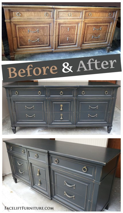 Distressed Black Dresser - Before and After from Facelift Furniture's DIY Blog