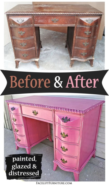 Ideal Curvy Antique Desk in Distressed Hot Pink - Before & After  XN77