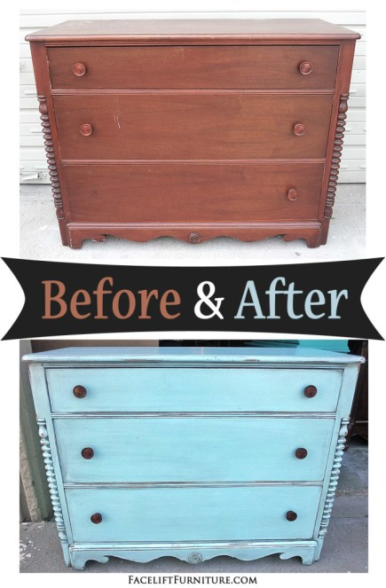 Robin's Egg Blue Dresser - Before & After