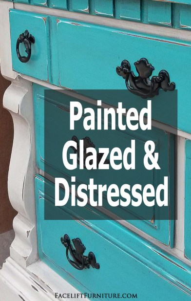 Weary old furniture takes a major U-turn when paint, glaze and distressing transform a worn out look into a one-of-a-kind eye-catcher. From Facelift Furniture's DIY Blog