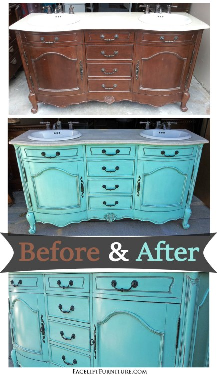 """Bath vanity painted, glaze and distressed in """"Sweet Rhapsody"""" (Behr, Home Depot). Before and after from Facelift Furniture."""