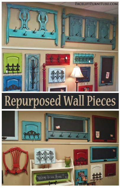 Furniture pieces and cabinet doors repurposed into coat racks and chalkboards! From Facelift Furniture's DIY blog.