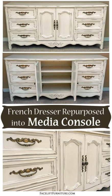 French dresser repurposed into a media console. From Facelift Furniture's DIY blog.