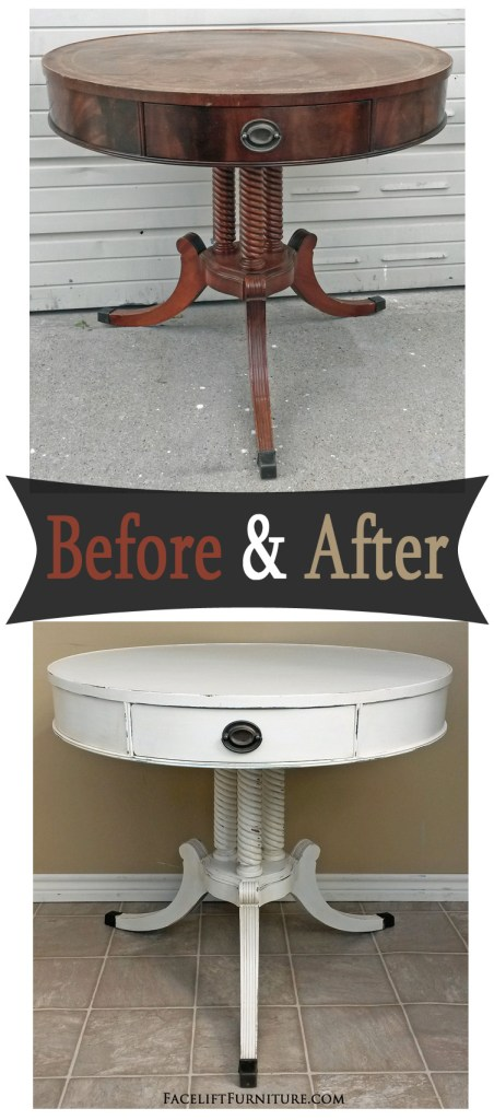 Duncan Phyfe End Table in Antiqued White - Before & After