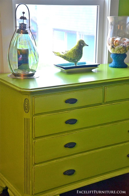 Dresser makeover in distressed lime green with black glaze. From the Beach House collection at Facelift Furniture.