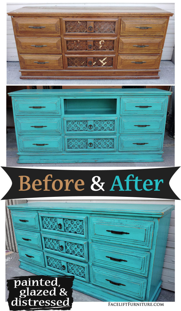Dresser Repurposed Into Media Console, In Distressed Turquoise With Black  Glaze   Before And After