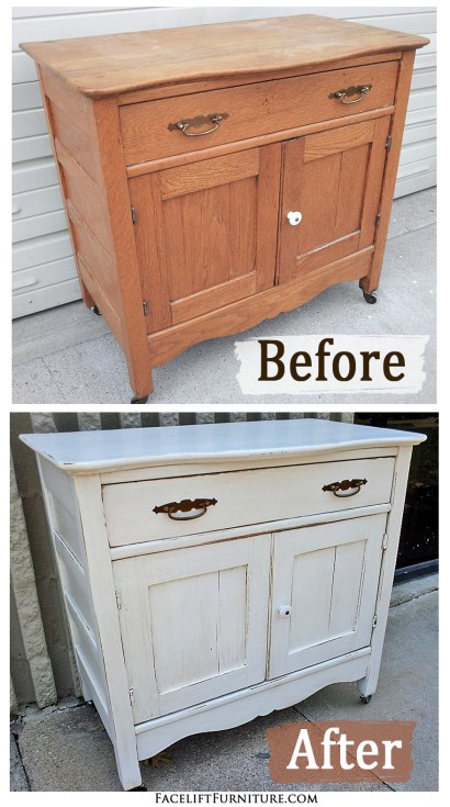 Old oak cabinet in Antiqued White & Tobacco Glaze - Before and After from Facelift Furniture