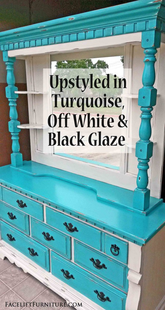 Distressed Turquoise U0026 Off White Dresser With Mirror Hutch