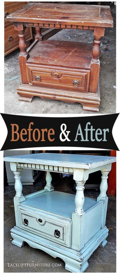 Nightstand in distressed Robins Egg Blue with Black Glaze - Before and After from Facelift Furniture