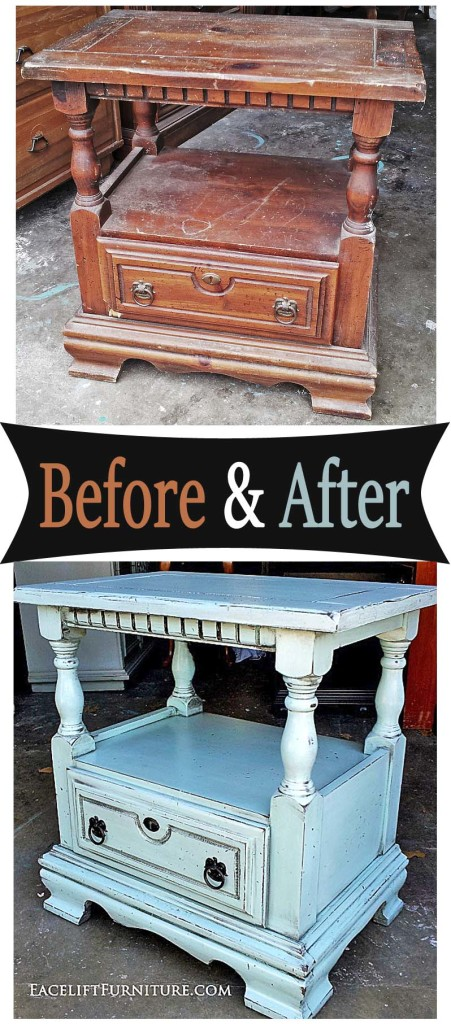 Nightstand In Distressed Robins Egg Blue With Black Glaze   Before And  After From Facelift Furniture