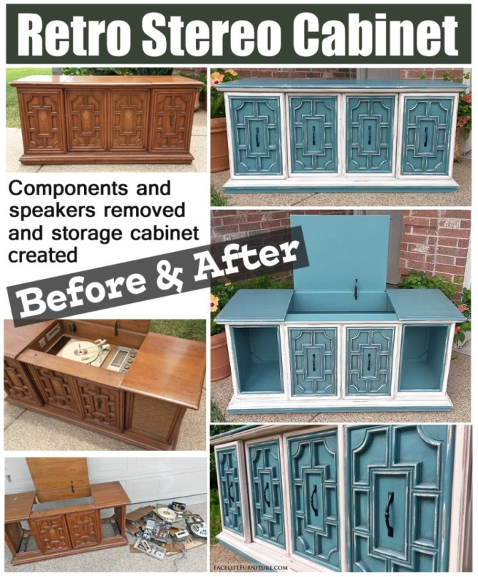 How this retro stereo cabinet was repurposed as a storage cabinet, and refinished in Sea Blue and Off White. From Facelift Furniture's DIY Blog.