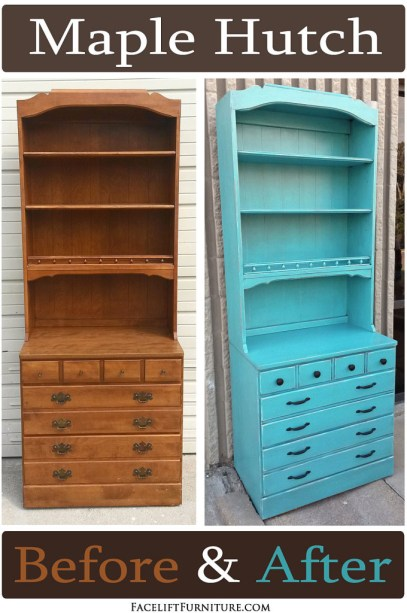 Vintage maple hutch in Turqouise with Black Glaze - Before and After from Facelift Furniture's DIY blog