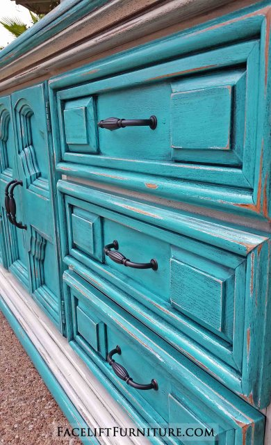 Large Dresser in distressed Turquoise and Off White with Black Glaze. From Facelift Furniture.