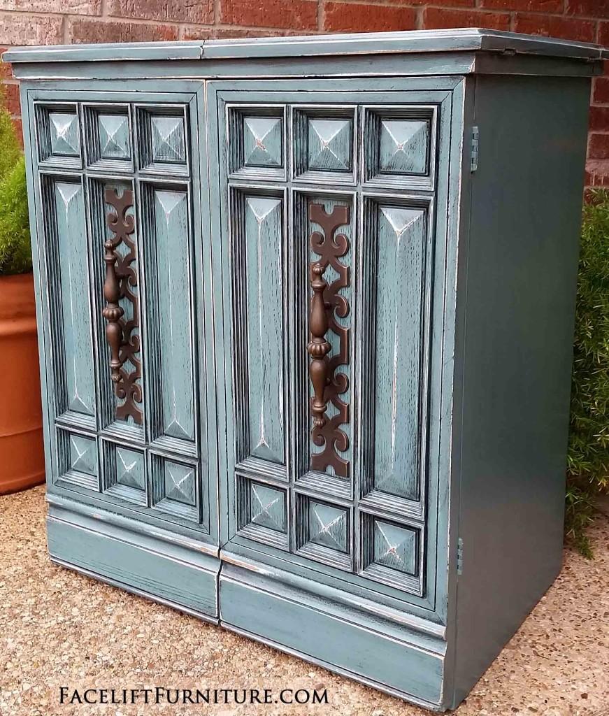 Sea Blue Retro Sewing Cabinet Vintage ...