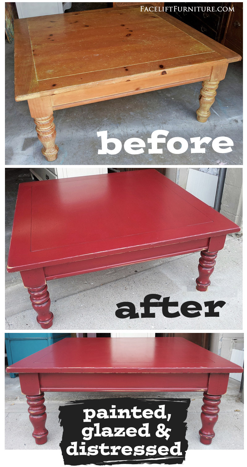 Barn Red Chunky Coffee Table Before After Facelift Furniture