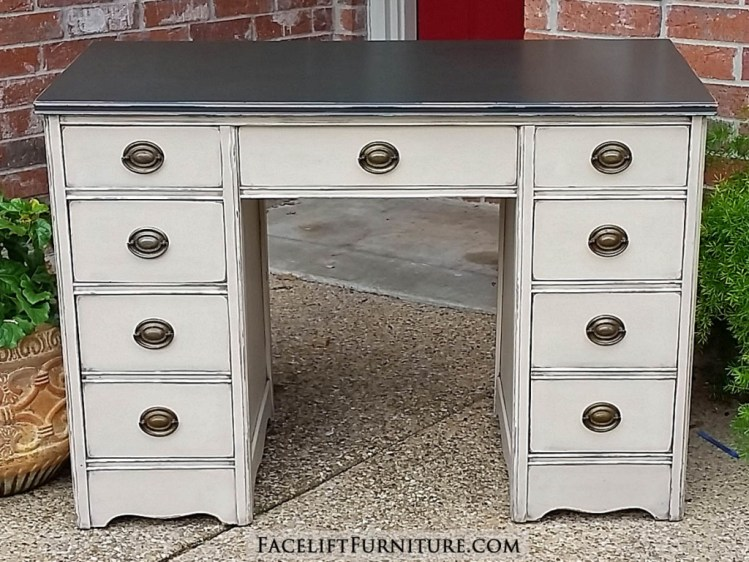 Vintage desk in distressed Dark Brown and Oatmeal, with Black Glaze providing antiqued look. From Facelift Furniture's DIY Blog