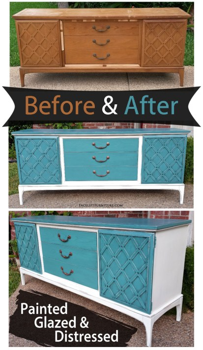 Mid-Century buffet given a new life in Sea Blue & Off White - Before & After from Facelift Furniture