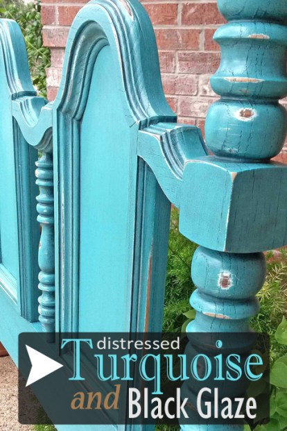 Headboard in distressed Turquoise with Black Glaze - DIY Inspiration from Facelift Furniture