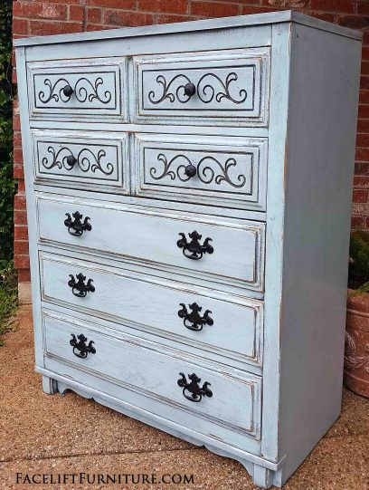 Robin's Egg Blue Art Deco Chest of Drawers - From Facelift Furniture
