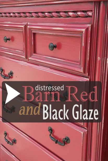Distressed Barn Red Chest of Drawers with Black Glaze - From Facelift Furniture
