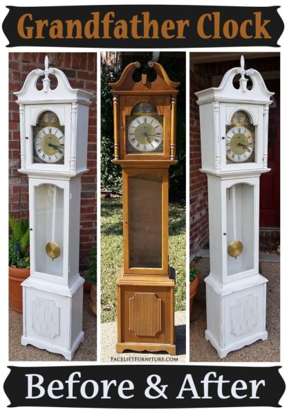 Antiqued White Grandfather Clock - Before & After
