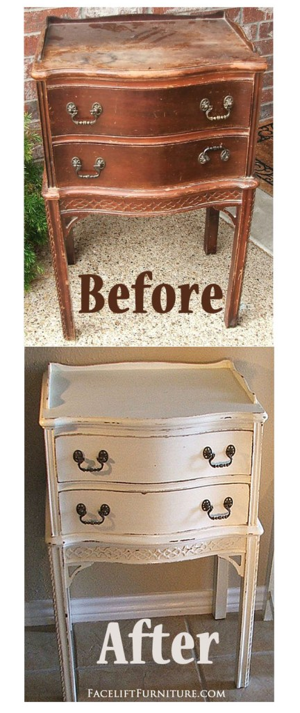 Antiqued White Nightstand - Before & After