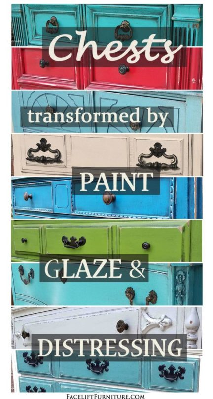 Chests of Drawers Transformed by Paint, Glaze & Distressing - From Facelift Furniture
