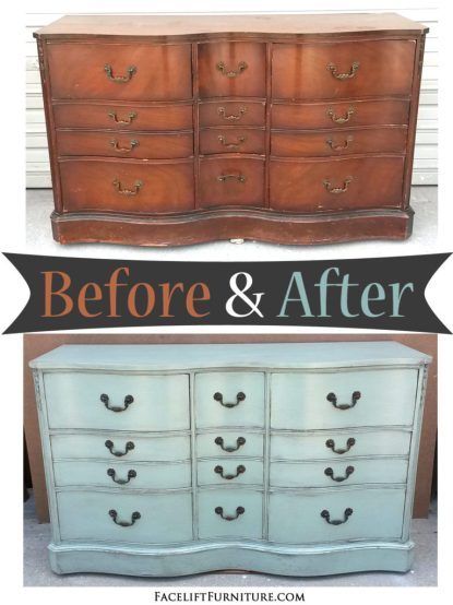 Dresser in distressed Pale Aqua - Before and After from Facelift Furniture