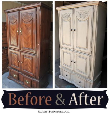 Clothing Armoire given a new life in distressed Off White & Tobacco Glaze - Before and After from Facelift Furniture