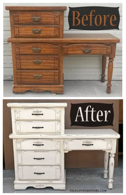 Vintage Chest with a Desk in Distressed Off White - Before & After from Facelift Furniture