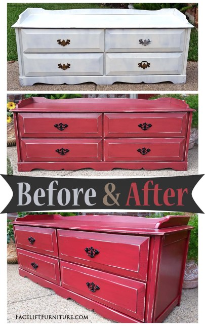 From blah to a big splash of color! This chest was given a new life in Barn Red and Black Glaze - Before & After from Facelift Furniture