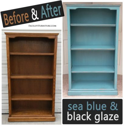 Bookshelf given a new look in Sea Blue & Black Glaze - Before & After from Facelift Furniture