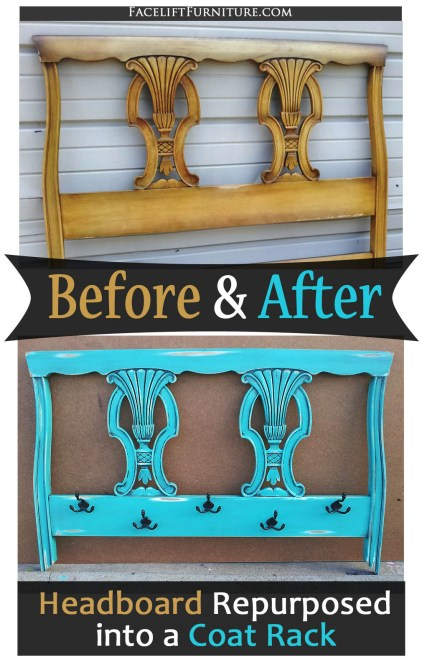 Twin Headboard Repurposed into a Turquoise Coat Rack - Before and After