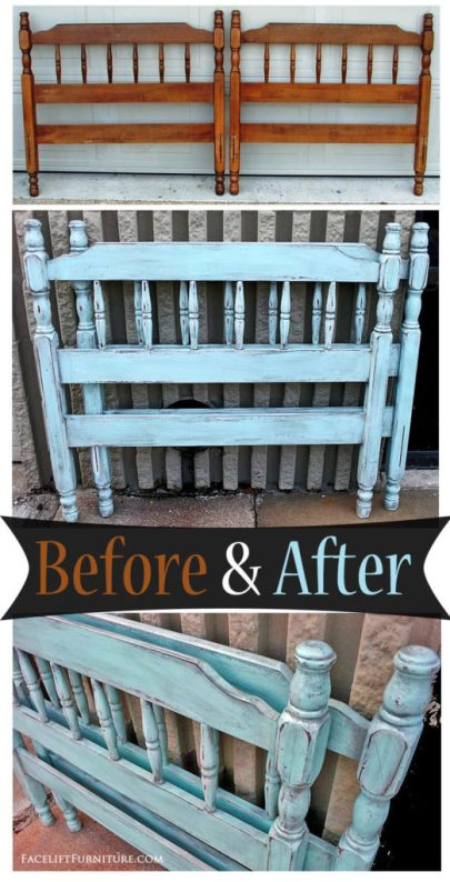 Twin Bed in Rustic Robin's Egg Blue with Black Glaze - Before & After