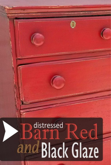 Antique Chest in Distressed Barn Red with Black Glaze