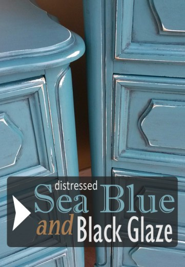 French Provincial in Distressed Sea Blue with Black Glaze ...