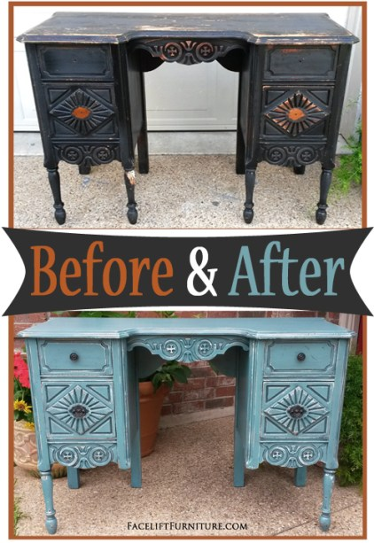 Art Deco Vanity Desk in Sea Blue & Black Glaze - Before & After from Facelift Furniture