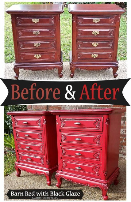 French nightstands in barn red with black glaze - Before & After from Facelift Furniture
