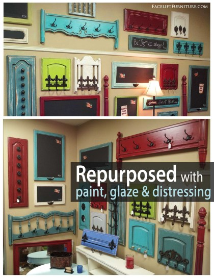 Foot boards repurposed into coat racks with paint, glaze & distressing! From Facelift Furniture
