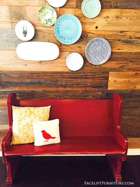 Small Church Pew Repurposed into a Red Bench - from Facelift Furniture